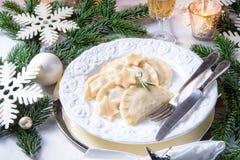Pierogi tradicional polonês saboroso do Natal imagem de stock royalty free