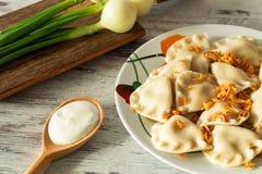 Pierogi, Varenyky, vareniki, pierogi, pyrohy с завалкой, вареником, традиционным блюдом восточно-европейской кухни стоковое изображение rf
