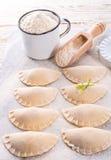 Pierogi with wild garlic filling Stock Photography