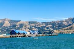 Pierpijler van Akaroa, zuideneiland van Nieuw Zeeland De mensen kunnen het gezien onderzoeken rond het Stock Fotografie