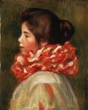 Pierre-auguste Renoir, Franzosen, 1841-1919 -- Mädchen in einem roten Kampfläufer lizenzfreies stockfoto