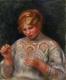 Pierre -Pierre-auguste Renoir, het Frans, 1841-1919 -- Meisjestatting stock illustratie