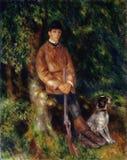 Pierre -Pierre-auguste Renoir, het Frans, 1841-1919 -- Portret van Alfred Berard With His Dog stock illustratie