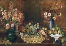Pierre -Pierre-auguste Renoir, het Frans, 1841-1919 -- Stilleven met Bloemen en Fruit stock illustratie