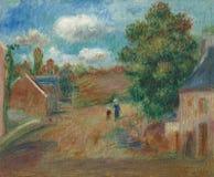 Pierre -Pierre-auguste Renoir--paysage, Entree DE Village Avec Femme Et Enfant stock foto