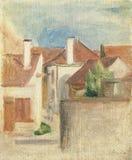 Pierre-auguste Renoir-vue DE Village, Essoyes stock afbeeldingen