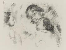 Pierre -Pierre-auguste Zuivere Renoir -renoir-une Et Deux Enfants royalty-vrije stock fotografie