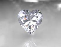 Pierre blanche brillante de diamant de forme de coeur Photographie stock