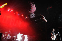 Pierre Bouvier, frontman of Simple Plan band, jumps at Razzmatazz Stock Image
