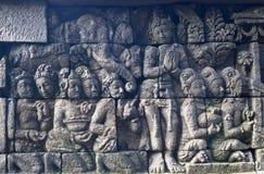 Pierre découpée au temple de Borobudur Images libres de droits