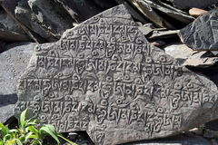 Pierre découpée par alphabet tibétain antique Image libre de droits