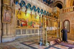 Pierre d'oindre dans l'église de la sépulture sainte Photos stock