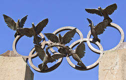 Pierre de Coubertin-Gedenkstatue am hundertjährigen Olympiapark, Atlanta Lizenzfreie Stockfotos