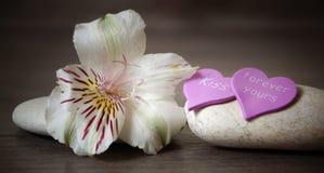 Pierre de deux blancs avec la fleur et le coeur sur un fond en bois, inscriptions au sujet de l'amour, station thermale Images libres de droits