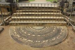 Pierre de la lune, Anuradhapura, Sri Lanka Images libres de droits