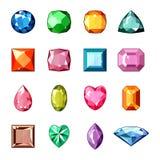 Pierre de vecteur de diamant et gemme en cristal ou pierre gemme précieuse pour l'ensemble cristallin d'illustration de bijoux de illustration stock