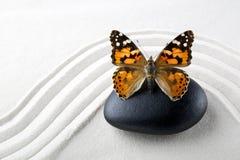 Pierre de zen avec le papillon Photographie stock libre de droits