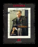 Pierre Elliott Trudeau, prime minister of Canada. CANADA - CIRCA 2001: A stamp printed in Canada shows Pierre Elliott Trudeau, canadian statesman who served as royalty free stock photos