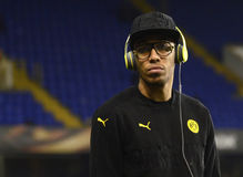 Pierre Emerick Aubameyang. Football player pictured prior to the UEFA Europa League round of 16 game between Tottenham Hotspur and Borussia Dortmund on March 17 stock images