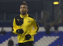 Pierre Emerick Aubameyang. Football player pictured prior to the UEFA Europa League round of 16 game between Tottenham Hotspur and Borussia Dortmund on March 17 royalty free stock photo