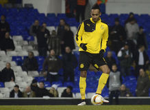 Pierre Emerick Aubameyang. Football player pictured prior to the UEFA Europa League round of 16 game between Tottenham Hotspur and Borussia Dortmund on March 17 stock photos
