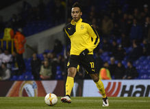 Pierre Emerick Aubameyang. Football players pictured prior to the UEFA Europa League round of 16 game between Tottenham Hotspur and Borussia Dortmund on March 17 royalty free stock photography