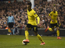 Pierre Emerick Aubameyang. Football players pictured during UEFA Europa League round of 16 game between Tottenham Hotspur and Borussia Dortmund on March 17, 2016 stock image
