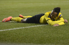 Pierre Emerick Aubameyang. Football players pictured during UEFA Europa League round of 16 game between Tottenham Hotspur and Borussia Dortmund on March 17, 2016 stock photography