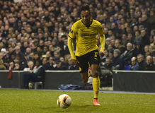 Pierre Emerick Aubameyang. Football players pictured during UEFA Europa League round of 16 game between Tottenham Hotspur and Borussia Dortmund on March 17, 2016 royalty free stock photography