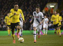Pierre Emerick Aubameyang and Kieran Trippier. Football players pictured during UEFA Europa League round of 16 game between Tottenham Hotspur and Borussia royalty free stock images