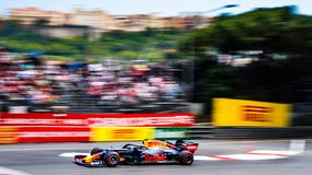 #10 Pierre GASLY FRA, Red Bull Racing, RB15 during FP2 ahead of the 2019 Monaco Grand Prix royalty free stock photo