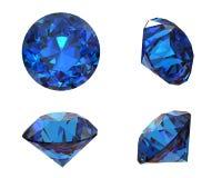 Pierre gemme bleue ronde sur le fond blanc. Benitoit. Saphir. E/S Image libre de droits