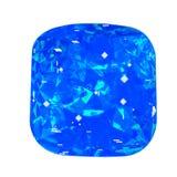 Pierre gemme d'isolement de bluel sur le fond blanc Pierre facettée par bleu Photos libres de droits