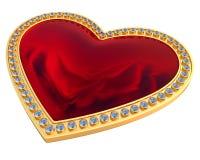 Pierre gemme de coeur dans l'or et des diamants Photographie stock libre de droits