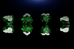 Pierre gemme de forme de coeur Collections de gemmes de bijou sur le noir EMER Image libre de droits