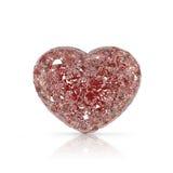 Pierre gemme en forme de coeur de diamants sur le fond blanc Image stock