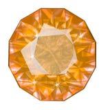 Pierre gemme jaune ovale isolée sur le fond blanc Photos libres de droits