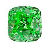Pierre gemme ovale verte d'isolement sur le fond blanc Vert facetté Photographie stock