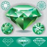 Pierre gemme verte d'émeraude de diamant Photographie stock