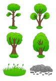 Pierre, herbe et arbres réglés Photo stock