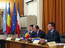 Pierre Moscovici e Mihai Razvan Ungureanu Fotografia de Stock