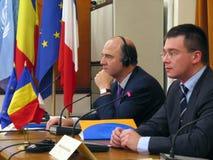 Pierre Moscovici und Mihai Razvan Ungureanu Lizenzfreie Stockfotografie