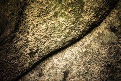Pierre naturelle couverte de lichens avec la fente Images libres de droits