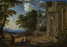 Pierre Patel - landskapet med vilar på flyget in i Egypten royaltyfri bild