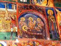 Pierre peinte dans le monastère d'humeur, Moldavie, Roumanie Images stock