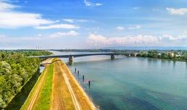 Pierre Pflimlin motorway bridge over the Rhine between France and Germany. Pierre Pflimlin motorway bridge over the Rhine connecting France and Germany Stock Photography