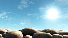 Pierre sur un soleil lumineux Photo libre de droits