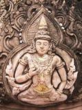 Pierre thaïe de statue d'un dieu de type (Deva) Images libres de droits