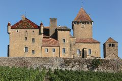 Pierreclos castle in Burgundy Royalty Free Stock Photo