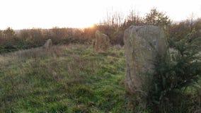 Pierres antiques de Celt au coucher du soleil Images libres de droits